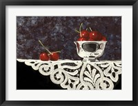 Framed Bowl Of Cherries With Lace