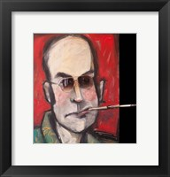Framed Hunter S Thompson With Cig Black