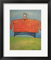 Framed Man In Orange Plaid