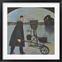 Man Walking Machine On Beach 2 Framed Print