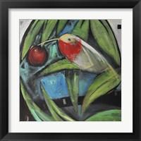 Framed Humming Bird And Cherry