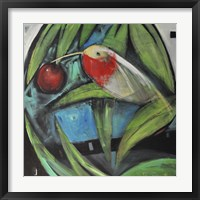 Framed Humming Bird And Cherry