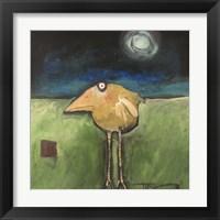 Framed Yellow Bird In Moonlight