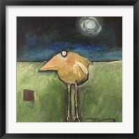 Yellow Bird In Moonlight Framed Print