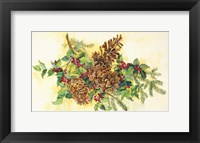 Framed Holly And Pine Cones