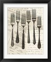 Framed Cutlery Forks in Sepia