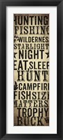 Hunting and Fishing Typography I Framed Print