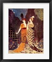 Framed Two Ladies Under the Crescent Moon