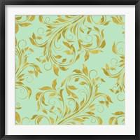 Framed Golden Mint Damask I