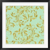 Golden Mint Damask I Framed Print