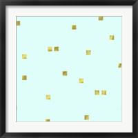 Framed Pale Aqua Golden Squares Confetti