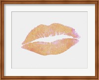 Framed Peach and Gold Lips