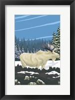 Framed White Moose