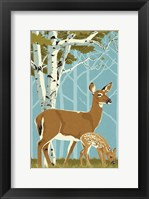 Framed Deer with Fawn