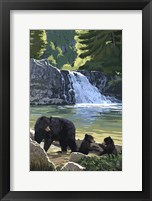 Framed Black Bear with Cubs 3
