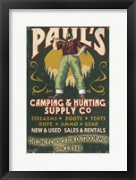Framed Paul's Camping & Hunting Supply Co.