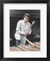 Framed Babe Ruth On Deck