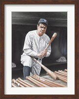 Framed Babe Ruth On Deck