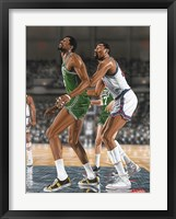 Framed Wilt Chamberlin and Bill Russell