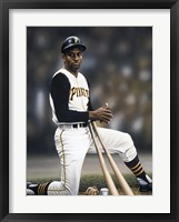 Framed Roberto Clemente on Deck