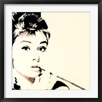 Framed Just Smokin  Audrey Hepburn