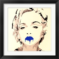 Framed Madonna Pop Art Blue Lips