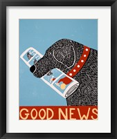 Framed Good News Dog Black