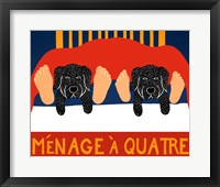 Menage A Quatre Black Black Framed Print