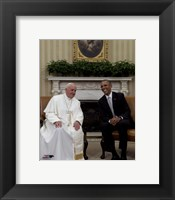 Framed Pope Francis talks with US President Barack Obama