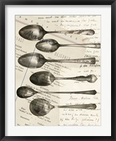 Framed Cutlery Spoons In Sepia