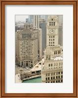 Framed Clock tower along a river, Wrigley Building, Chicago River, Chicago, Illinois, USA