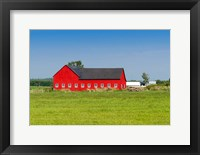 Framed Red barn in Grenville County in Ontario, Canada
