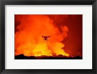 Framed Radio Contolled Drone flying over Eruption, Holuhraun Fissure, Bardarbunga Volcano, Iceland.