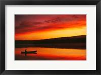 Framed Silhouetted Canoe On Lake