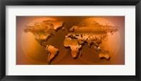 Framed World Map Brown