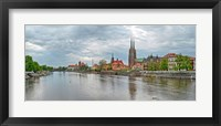 Framed Oder river and Cathedral island in Wroclaw, Poland