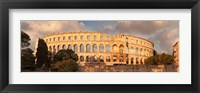 Framed Roman amphitheater at sunset, Pula, Istria, Croatia