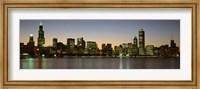 Framed Chicago Skyline at Dusk, IL