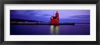 Framed Big Red Lighthouse at Dusk, Holland, Michigan