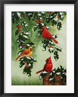 Framed Cardinals Hollies with Snow