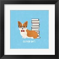 Good Dogs Corgi Bright Framed Print