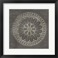 Framed Rosette I Gray