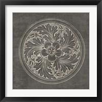Framed Rosette II Gray