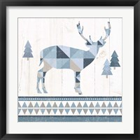 Framed Nordic Geo Lodge Deer I