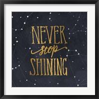 Starry Words II Gold Framed Print