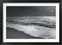 Framed Moonrise Beach Black and White