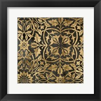 Framed Golden Damask I
