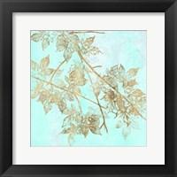 Aqua & Gold Maple I Framed Print