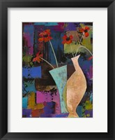 Framed Abstract Expressionist Flowers I