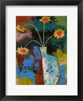 Framed Abstract Expressionist Flowers III